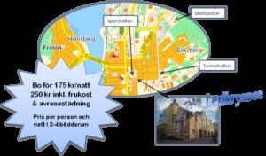 karta med Östersundledkryssets läge samt erbjudande
